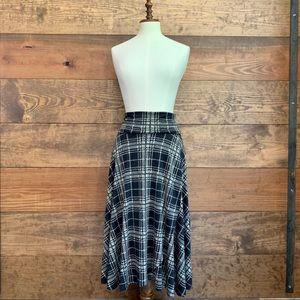Anthro Lapis Silky Plaid Maxi Skirt